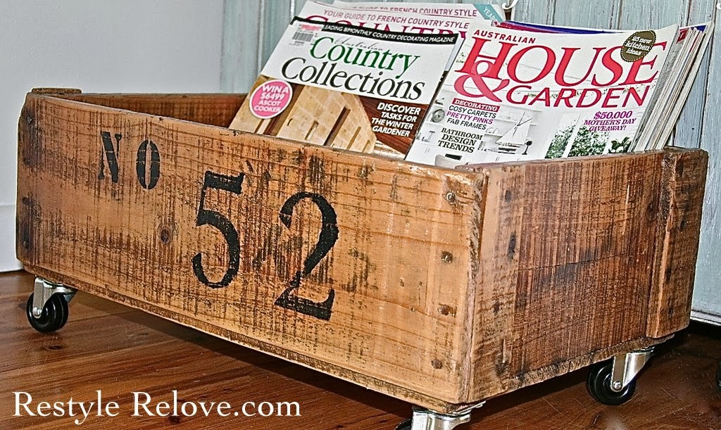 Wednesday's Projects Past - Numbered Wooden Crate on Wheels