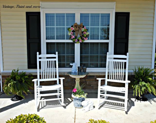 Spring on the front porch, diy flower pots, diy spring wreath