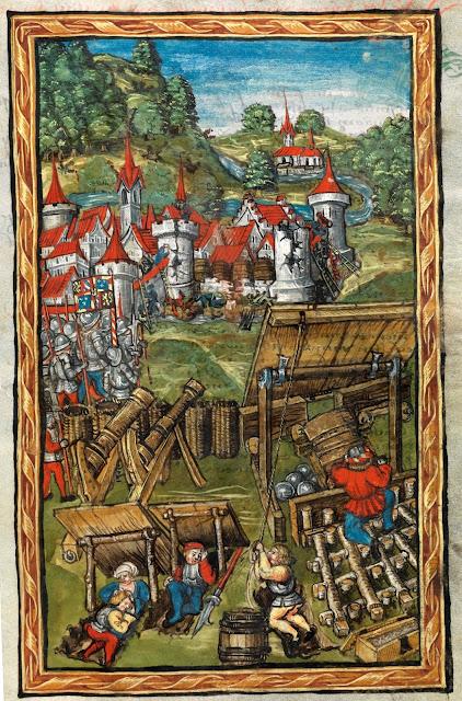 """""""Charles le Téméraire assiégeant Nancy, 22 octobre 1476""""  Enluminure tirée de """"La Chronique de Lucerne"""" (1511-1513)   écrite par le chroniqueur Diebold Schilling der Jüngere (1460-1515)  (Bibliothèque Centrale de Lucerne)"""