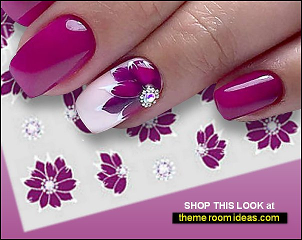 Purple Flower Nail Art Nail Water Decals Nail Art Water Decals Stickers Transfers Water Effect Deep Purple Flowers Floral Rose