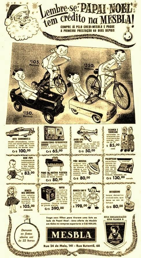 Propaganda antiga das Lojas Mesbla com itens em promoção para o Natal de 1954
