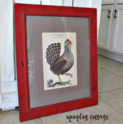 AwESoMe ViNTaGe CHiCKeN PiCTuRe in ReD FRaMe 24 x 20