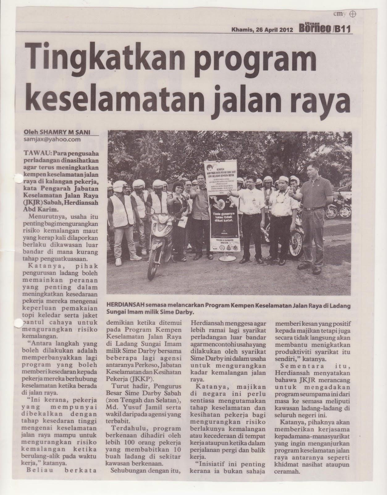 Jabatan Keselamatan Jalan Raya Sabah: Keratan Akhbar dan