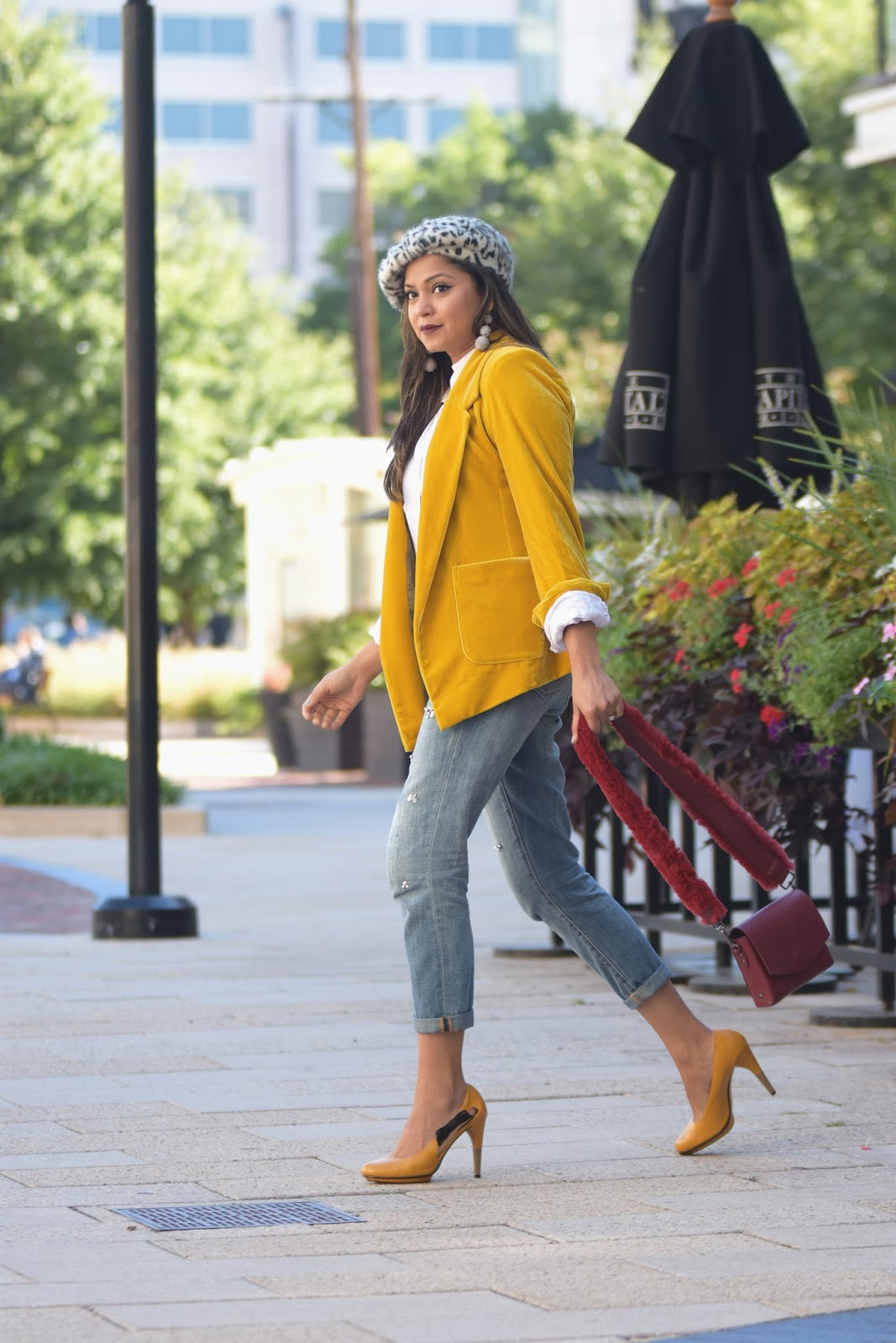 MUSTARD YELLOW JACKET, velvet blazer, fashion blogger, embellished sequin jean, boyfriend jeans, beret , animal print hat, fur bag, yello jacket casual outfit, myriad musings