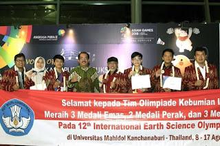 Indonesia Meraih Medali Emas dalam International Earth Science Olympiad (IESO) 2018 di Mahidol, Kanchanaburi, Thailand