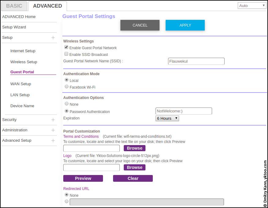 Advanced ⇒ Setup ⇒ Guest portal settings.