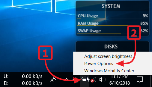 Windows 10 - Klik kanan pada ikon baterai lalu pilih Power Options