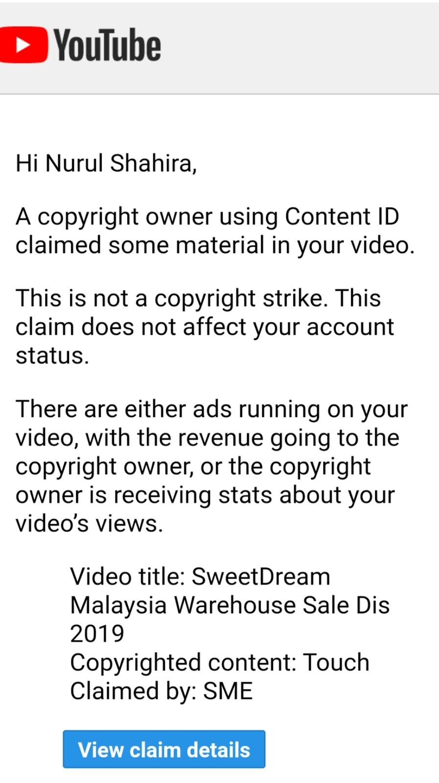 Copyright content Youtube from SME