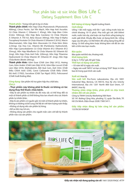 Thực phẩm bảo vệ sức khỏe Bios Life C