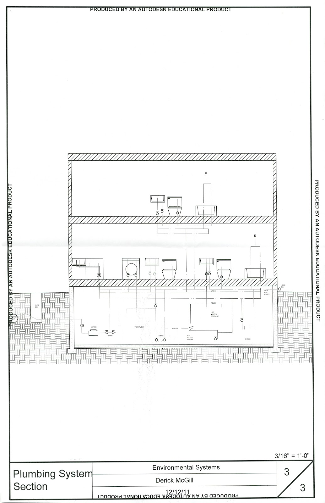 Autocad Works Dericks Design Portfolio Drawing Hvac Systems Residential Plumbing Section