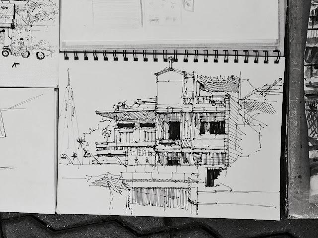 ký họa nhà phố Sài Gòn