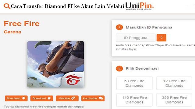 Cara Transfer Diamond FF ke Akun Lain Melalui Unipin