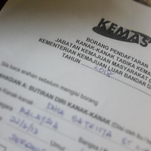 Register TABIKA KEMAS 2018 Untuk Dhia Batrisya