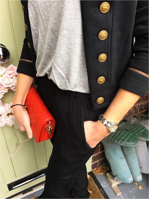 My Midlife Fashion, Great Plains Misha Crepe Joggers, zara basic v neck t shirt, ralph lauren supply & denim military cropped jacket
