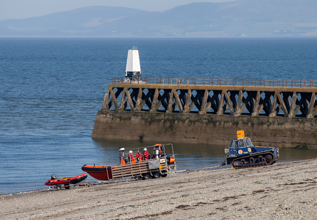 Photo of launching the rescue boat by Maryport Pier