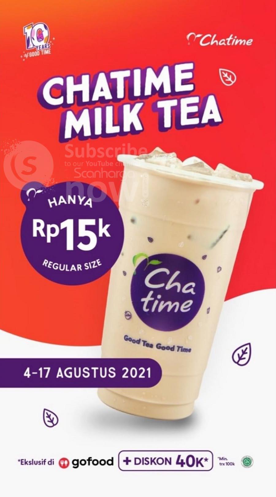 Promo Chatime MILK TEA harga hanya Rp. 15.000