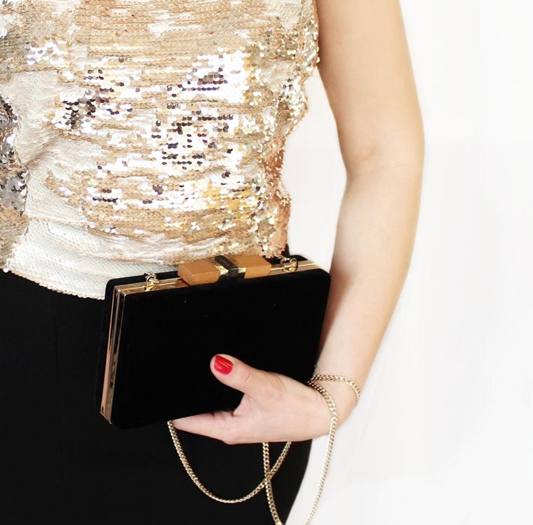 Nowości w mojej garderobie i nie tylko - czarna aksamitna torebka z łańcuszkiem Zara