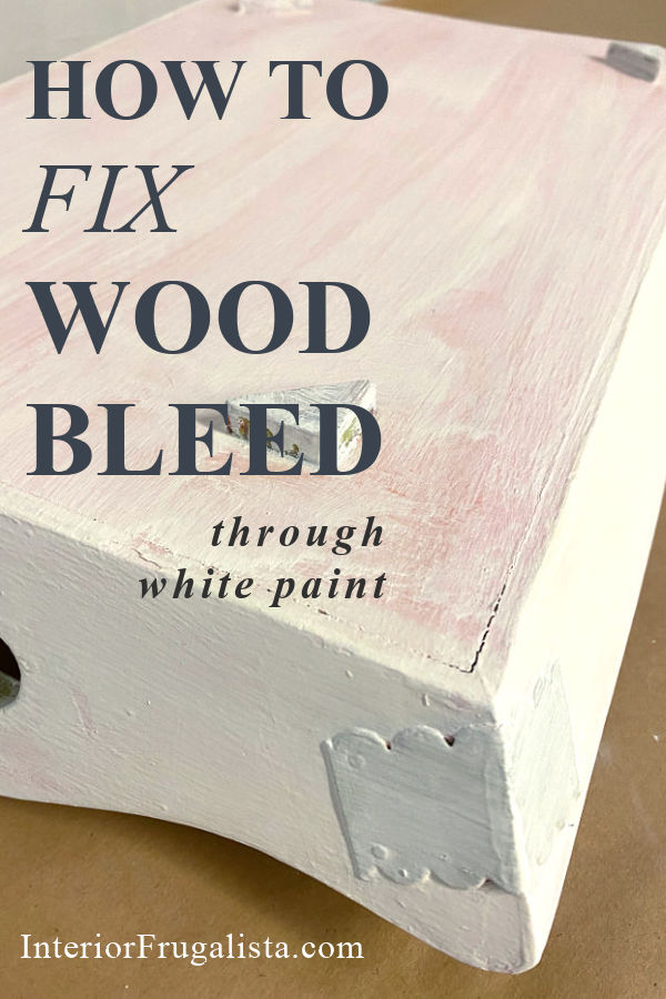 How to fix wood bleed and stubborn stains from coming through white paint. Demonstrated with an upcycled carved wood tray makeover with paint bleed. #bleedthrough #paintbleed #woodbleed