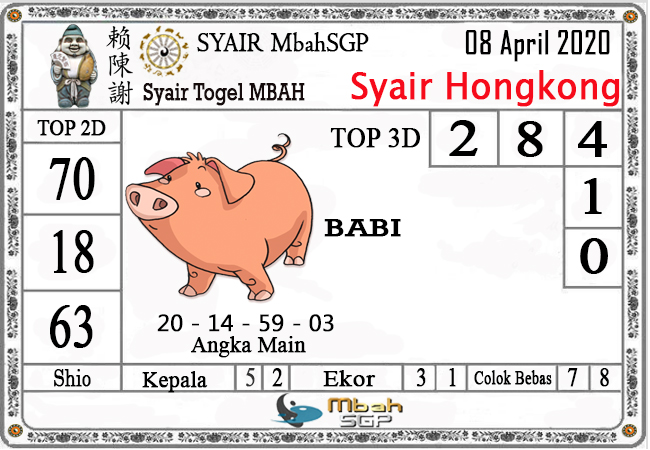 Prediksi Togel Hongkong Rabu 08 April 2020 - Syair Mbah HK