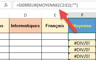Syntaxe de la fonction SIERREUR