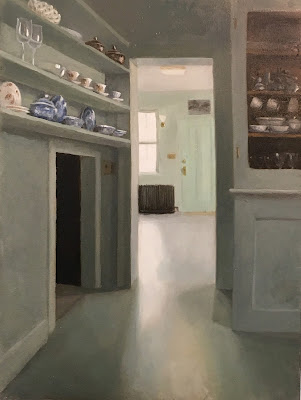 light in doorway, china chelves, cups and saucers, still life, oil painting