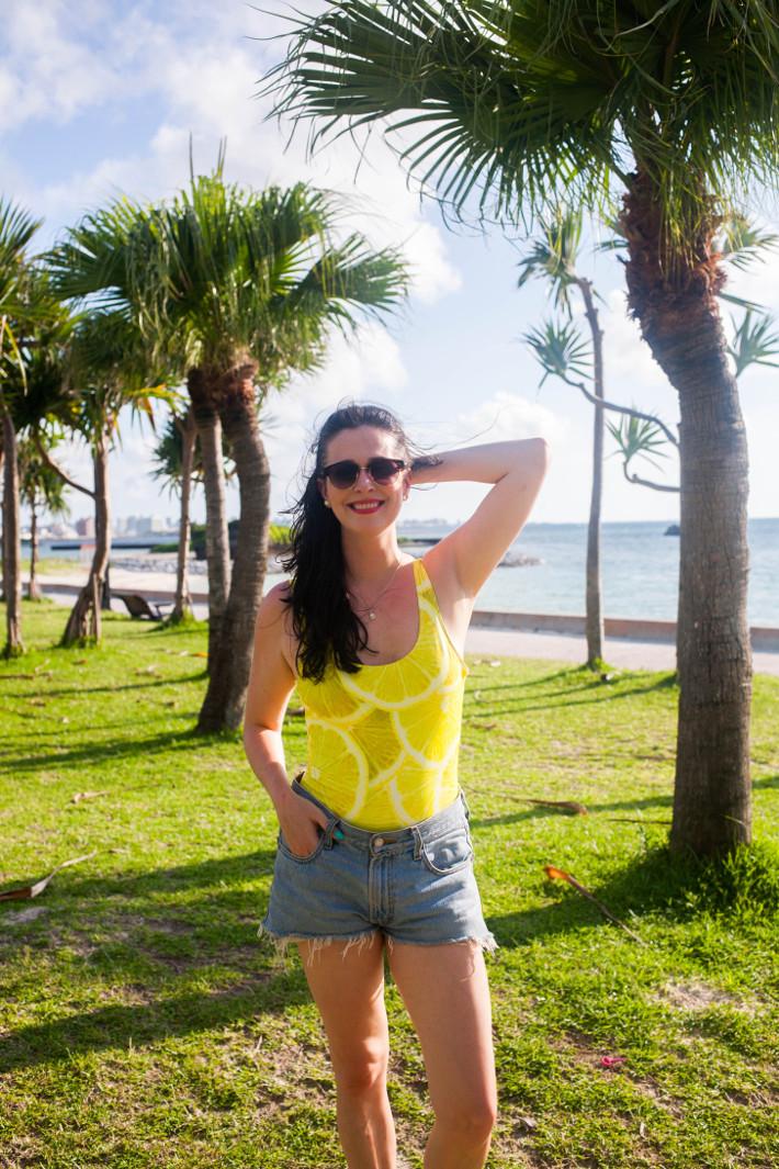 Lemon print swimsuit at Araha Beach