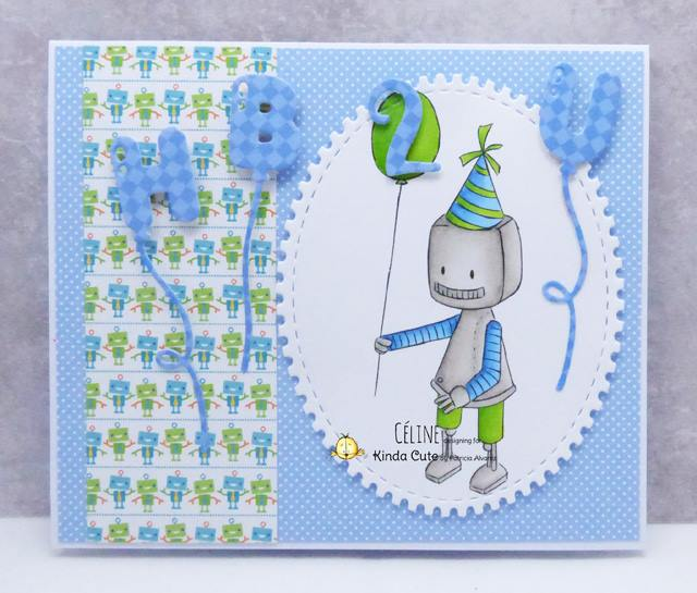Birthday card with a robot digital stamp