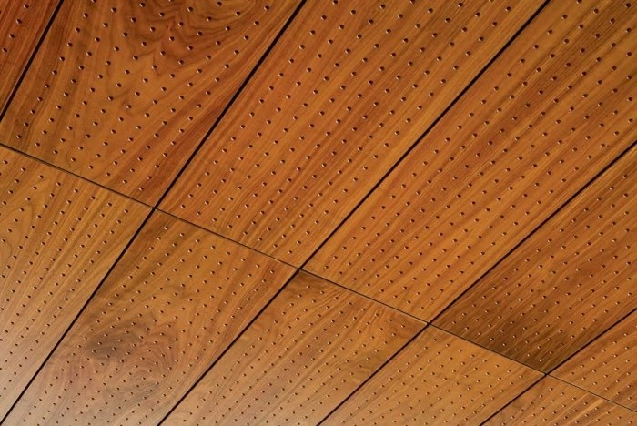 Stylish wood ceiling panels, collection from Hunted Douglas
