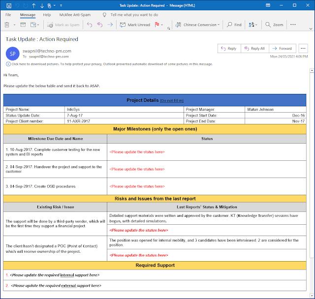 Status Update Request Email