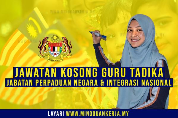 Jawatan Kosong Guru Tabika & Pembantu Guru Tabika JPNIN ~ Kelayakan Minima PMR / PT3 Layak Memohon