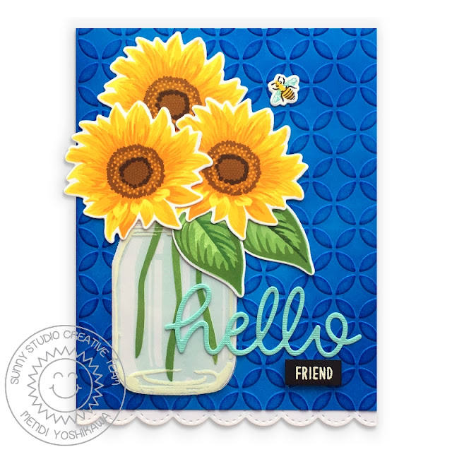 Sunny Studio: Sunflower Fields Layered Flower Hello Friends Embossed Card (using Vintage Jar Stamps, Stitched Scalloped Border dies & Moroccan Circles 6x6 Embossing Folder)