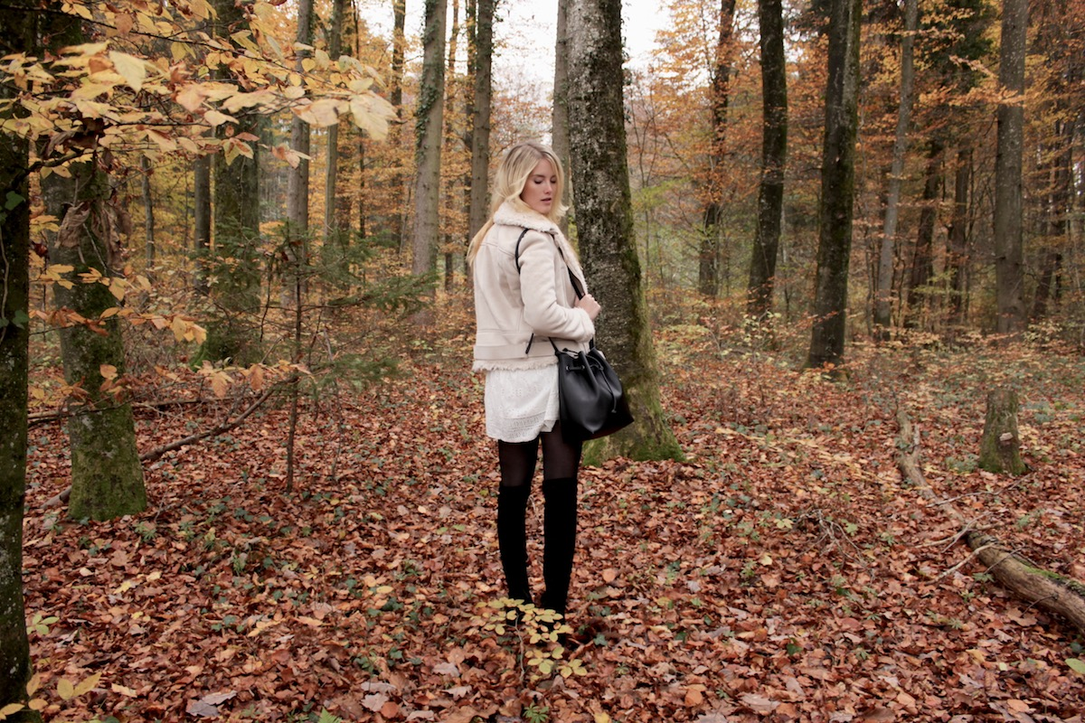Shearling Lederjacke Zara www.theblondelion.com Fashionblog Stuttgart Outfit Layering