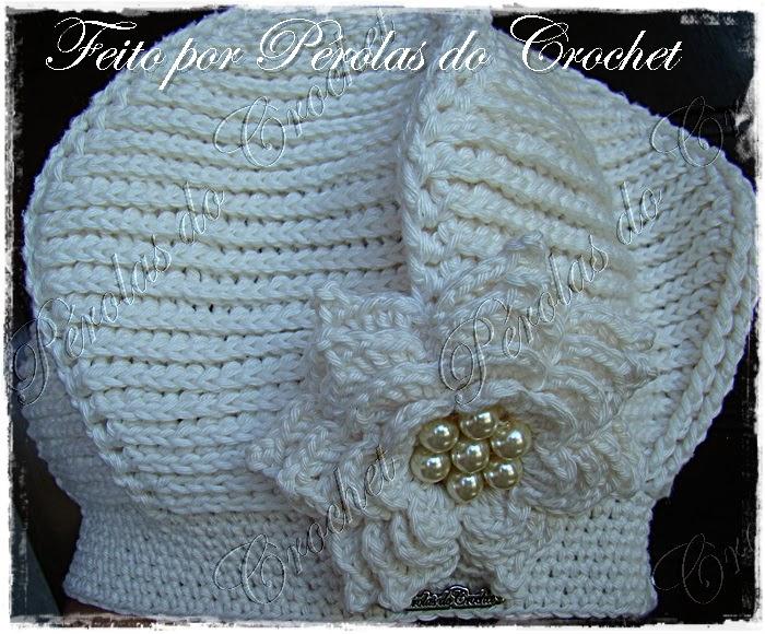 30067a3953f20 Renata Vieira Pérolas do Crochet  Boina em croche - Modelo Relevo ...