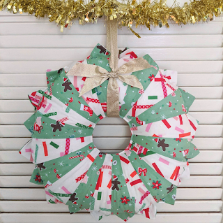 green and white dresden plate christmas fabric wreath by Charm About You