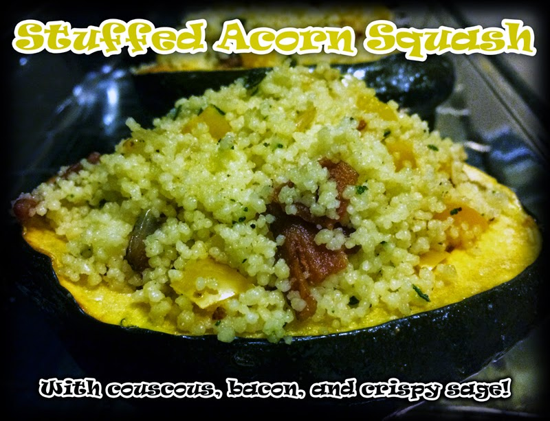 Stuffed Acorn Squash Recipe with couscous, bacon and crispy sage