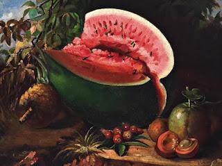 Quadro melancia do pintor Estevão Silva