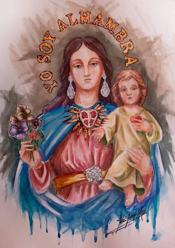 Cartel de María Auxiliadora de la Alhambra, homenaje a los difuntos de la pandemia