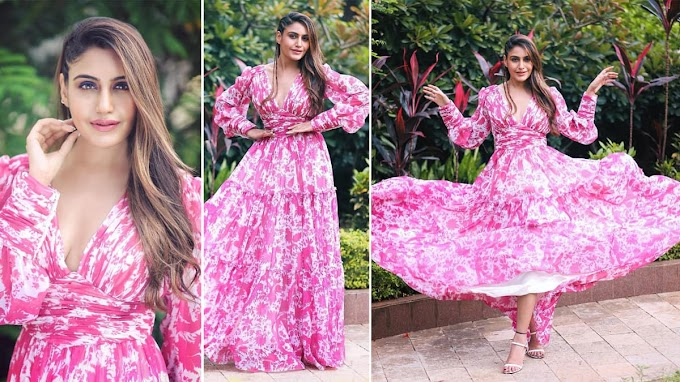 Surbhi Chandna photos looks hot and sexy in floral pink dress
