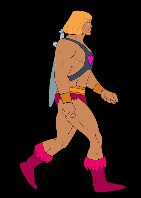 cartoon of a man walking.