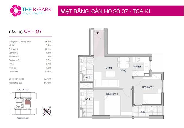 Thiết kế căn hộ 07 tòa K1 chung cư THE K-PARK