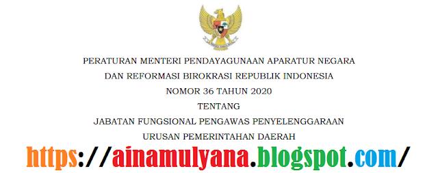 Peraturan Menpan RB atau Permenpan RB Nomor 36 Tahun 2020 Tentang Jabatan Fungsional Pengawas Penyelenggaraan Urusan Pemerintahan Daerah