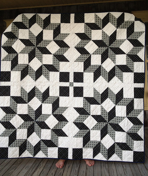 Carpenter's Wheel Quilt made by Dorie Schwarz of Tumbling Blocks, The QAL designed by Anita Peluso of Bloomin' Workshop