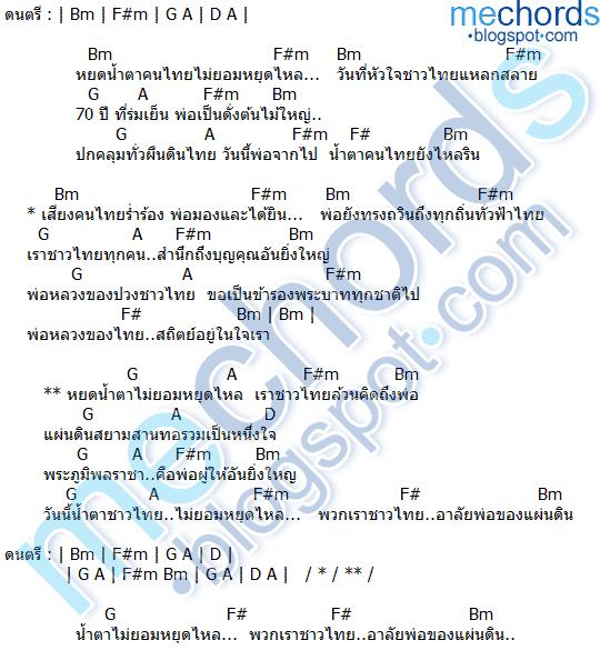 คอร์ดเพลง น้ำตาไม่หยุดไหลชาวไทยคิดถึงพ่อ เพชร สหรัตน์