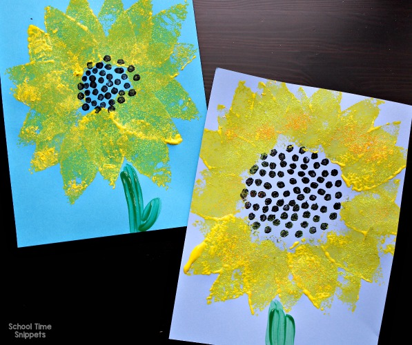 sponge painted sunflower craft for kids