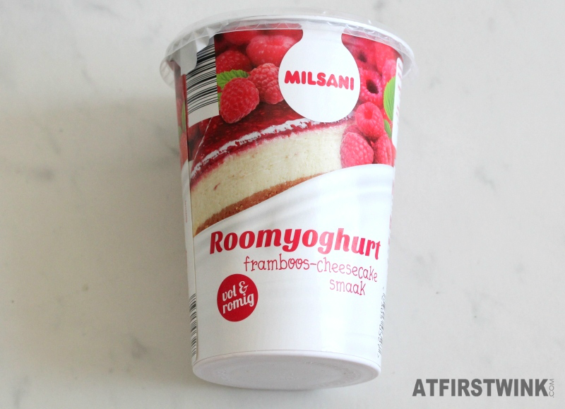 Milsani roomyoghurt framboos yogurt raspberry cheesecake 500g €0.95 Aldi