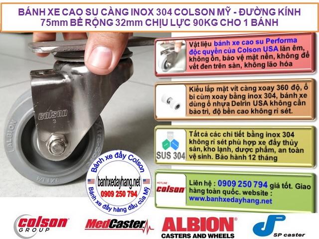Bánh xe cao su chuyển hướng càng inox 304 Colson 3inch | 2-3356SS-444 banhxedaycolson.com