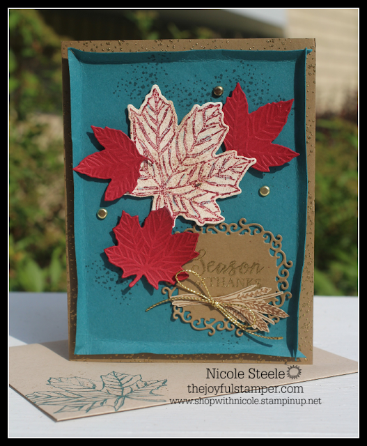 Leaf-filled fall card made with images from Stampin' Up!'s Gather Together set by Nicole Steele The Joyful Stamper