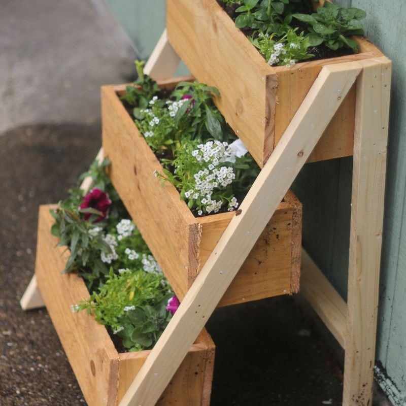 stair step wood planter