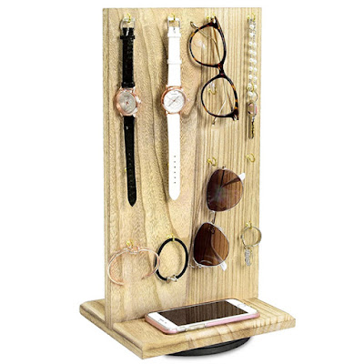 Wooden Rotating Two-Sided Jewelry Display Stand showcasing sunglasses, bracelets, and watches