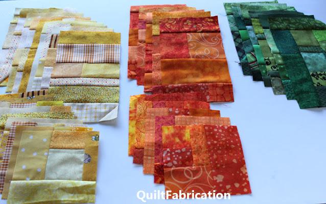 yellow orange and green scrap blocks